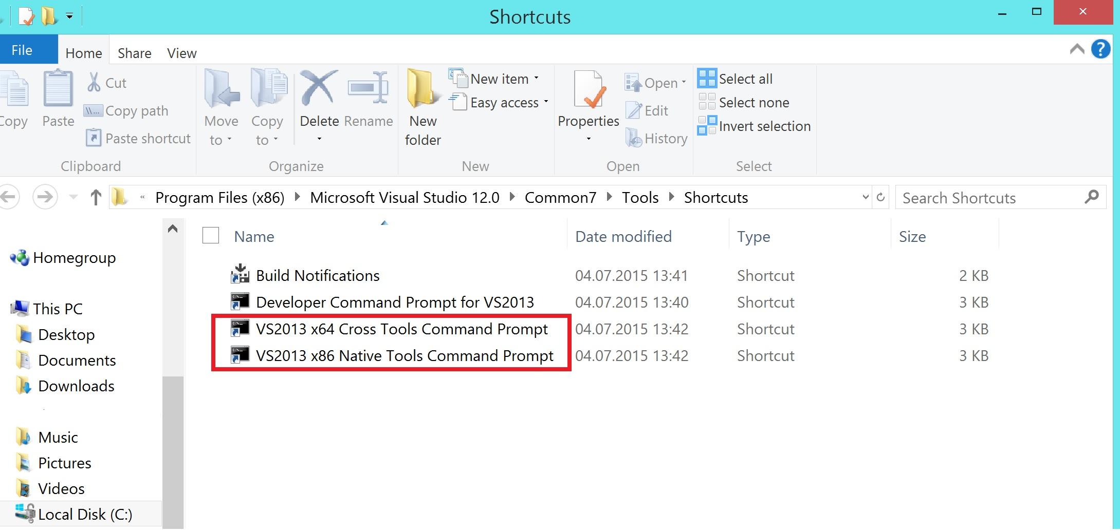 VisualStudioCMDShortcuts